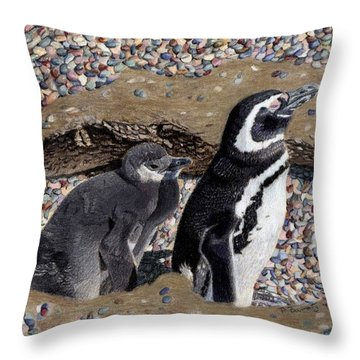 Looking Out For You - Penguins Throw Pillow by Patricia Barmatz