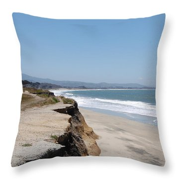 Looking Toward Half Moon Bay Throw Pillow by Carolyn Donnell