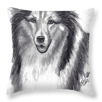 Throw Pillow featuring the drawing Looks Like Lassie by Julie Brugh Riffey