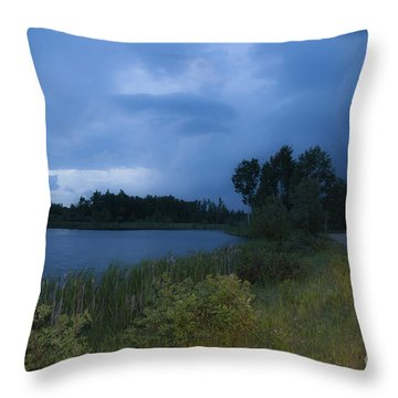 Looming Alberta Storm Throw Pillow by Darcy Michaelchuk