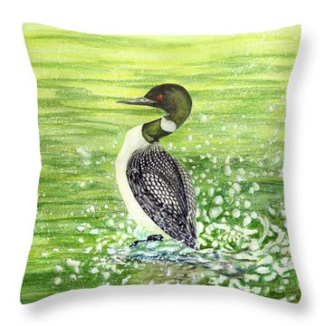 Throw Pillow featuring the painting Loon Art Judy Filarecki Watercolor by Judy Filarecki