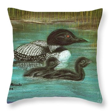 Loon Babies With Mother Judy Filarecki Pastel Painting Throw Pillow