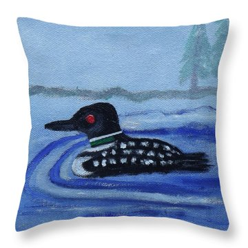 Loon On Lake Winnipeaukee Throw Pillow