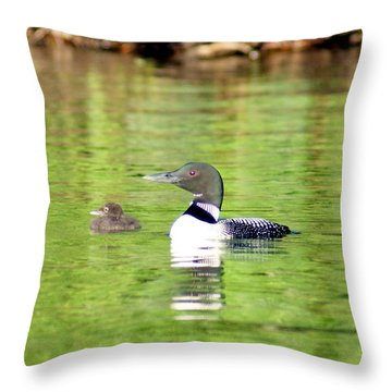 Loons Big And Small Throw Pillow by Steven Clipperton