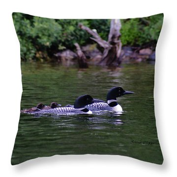 Loons With Twins 2 Throw Pillow by Steven Clipperton