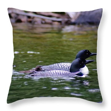 Loons With Twins 3 Throw Pillow by Steven Clipperton