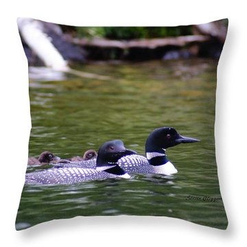 Loons With Twins 4 Throw Pillow by Steven Clipperton