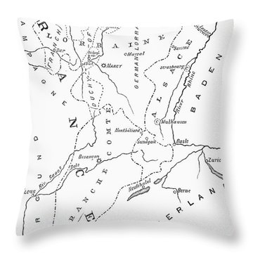 Lorraine And Alsace: Map Throw Pillow by Granger