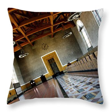 Los Angeles Union Station Terminal Throw Pillow by Jeff Lowe
