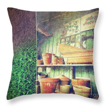 Lots Of Different Size Pots In The Shed Throw Pillow by Sandra Cunningham