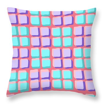 Lots Of Squares Throw Pillow by Louisa Knight