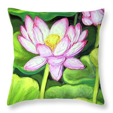 Throw Pillow featuring the painting Lotus 1 by Inese Poga