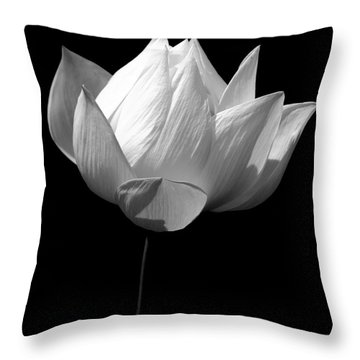 Lotus Bw Throw Pillow by Mark Gilman