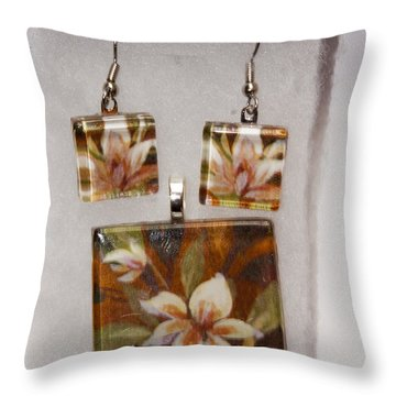Throw Pillow featuring the jewelry Lotus Flower Pendant And Earring Set by Darleen Stry