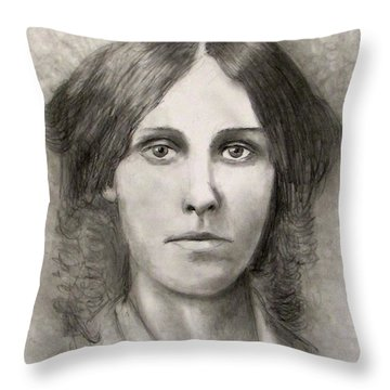 Louisa May Alcott Throw Pillow by Jack Skinner