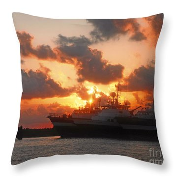 Louisiana Sunset In Port Fourchon Throw Pillow