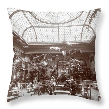 Lounge At The Plaza Hotel Throw Pillow by Henry Janeway Hardenbergh