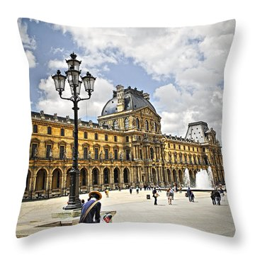 Louvre Museum Throw Pillow by Elena Elisseeva