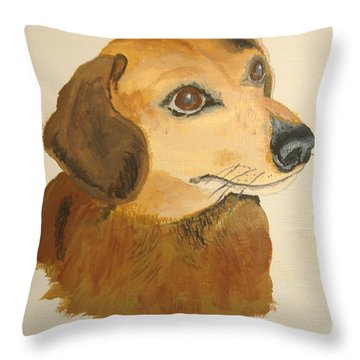 Throw Pillow featuring the painting Lovable Dachshund by Norm Starks