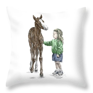 Love At First Sight - Girl And Horse Print Color Tinted Throw Pillow