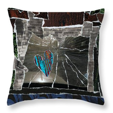 Love Hitting A Shattered Life Throw Pillow