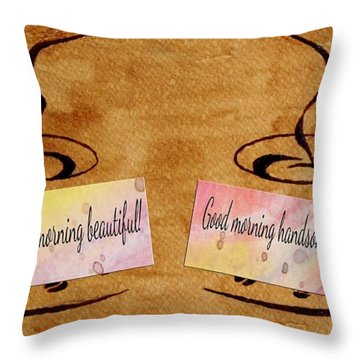 Love Morning Coffee Throw Pillow by Georgeta  Blanaru