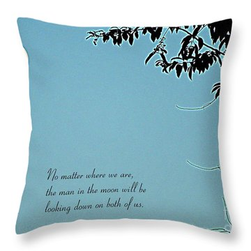 Love Notes Man In The Moon Throw Pillow by Renee Trenholm