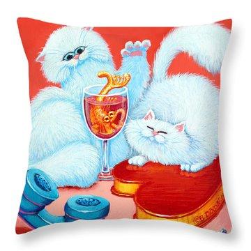 Love Puffs Throw Pillow by Baron Dixon
