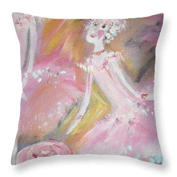 Love Rose Ballet Throw Pillow by Judith Desrosiers