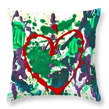 Throw Pillow featuring the painting Love Survives A Trashy Time by Sharon Mick