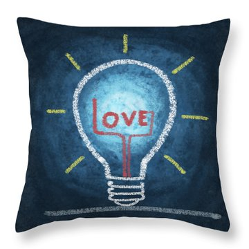 Love Word In Light Bulb Throw Pillow