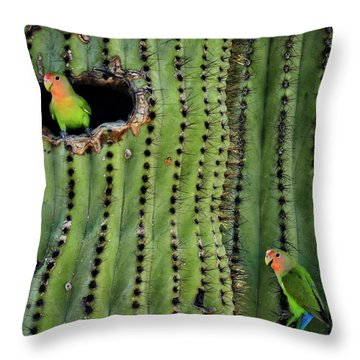 Lovebirds And The Saguaro  Throw Pillow
