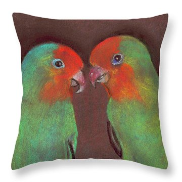 Throw Pillow featuring the drawing Lovebirds by Wendy McKennon