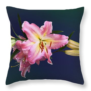 Lovely Pink Lilies Throw Pillow by Susan Savad