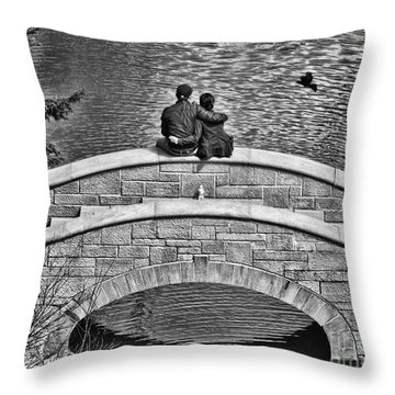 Lovers On A Bridge  Throw Pillow