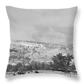 Low Winter Storm Clouds Colorado Rocky Mountain Foothills 7 Bw Throw Pillow by James BO  Insogna