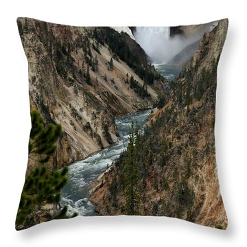Throw Pillow featuring the photograph Lower Falls And Yellowstone River by Living Color Photography Lorraine Lynch