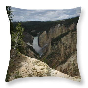 Throw Pillow featuring the photograph Lower Falls Of Yellowstone by Living Color Photography Lorraine Lynch