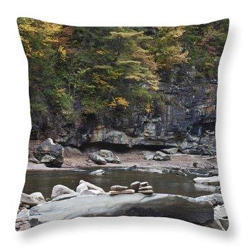 Loyalsock Creek In The Fall Throw Pillow