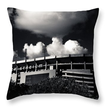 Lsu Tiger Stadium Black And White Throw Pillow by Maggy Marsh