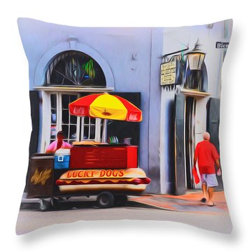 Lucky Dogs - Bourbon Street Throw Pillow by Bill Cannon