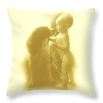 Lucy Kisses Throw Pillow by Sheri Lauren Schmidt