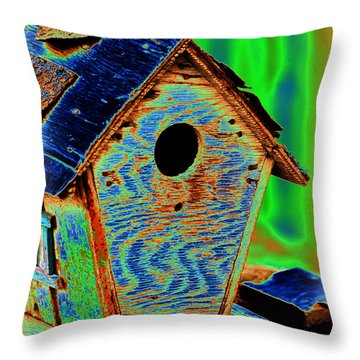 Luminescent Birdhouse Throw Pillow