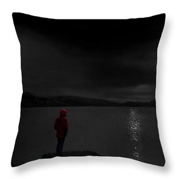 Throw Pillow featuring the photograph Lunatic In Red by Meirion Matthias