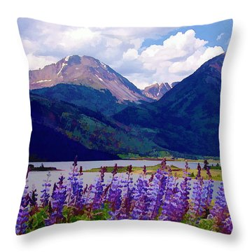 Lupine Lake Throw Pillow