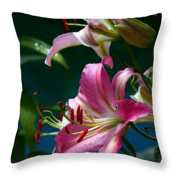 Lushes Fragrant Lilies Throw Pillow