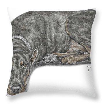 Lying Low - Doberman Pinscher Dog Print Color Tinted Throw Pillow