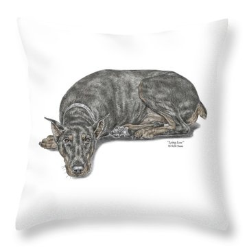 Lying Low - Doberman Pinscher Dog Print Color Tinted Throw Pillow