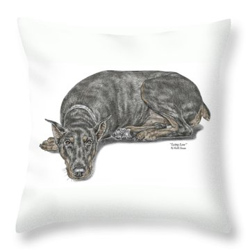 Throw Pillow featuring the drawing Lying Low - Doberman Pinscher Dog Print Color Tinted by Kelli Swan