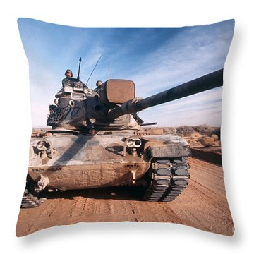 M-60 Battle Tank In Motion Throw Pillow by Stocktrek Images